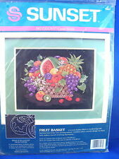 Vintage Colorful Fruit Basket No Count Cross Stitch Kit-Unopened!