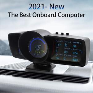 Multifunction 3.5'' Dual Screen Digital OBD2 GPS Speedometer Gauge HUD Display