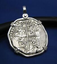 Rescued Treasure Piece of Eight Pirate Coin Pendant Large Sterling Cobb Replica