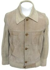 VTG Torras Spain Wool Suede Leather Jacket Beige Tan Men 42 M L Elbow Patches