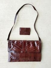 Vintage Dark Red Brown Eel Skin Leather Purse & Wallet Coin Purse