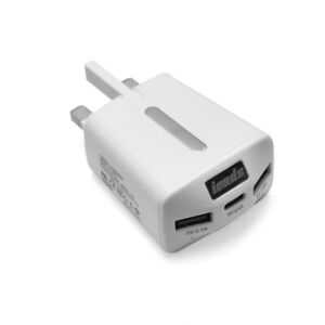 UK 3 Pin Plug Charger Travel Adapter with 1 Type C Port and 2 Micro USB ports