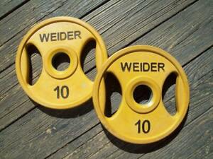 """WEIDER BARBELL """"EASY GRIP"""" OLYMPIC 10s BodyBuilding STRONGMAN Fitness York GYM*"""