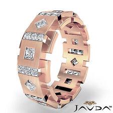 Man Mens Solid Box Eternity Princess Diamond Wedding Band 14k Rose Gold 3 Ct.