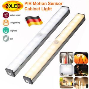 Magnet LED Lichtleiste PIR Bewegungsmelder USB wiederaufladbar Zuhause Lampe DE