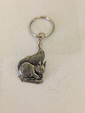 Squirrel PP-A14 English Pewter Emblem on a Split Ring Keyring