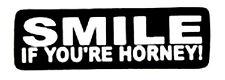 SMILE IF YOU'RE HORNY HELMET STICKER WHITE ON BLACK