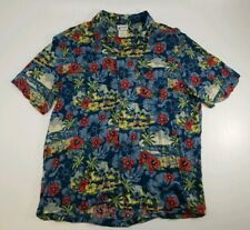 Disney Parks Men's Large Hawaiian Button Up Shirt Blue Tiki Mickey Mouse