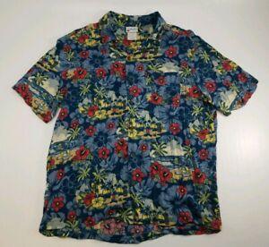 Disney Parks Men's Large Hawaiian Button Up Shirt Blue Tiki Mickey Mouse