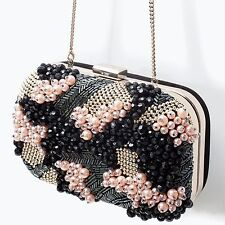 ZARA Black Leather Beaded Evening Clutch Bag Purse Woman Authentic BNWT 8614/304