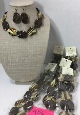 Jewelry Lot Tribal Animal Brown Beige Chunky Beaded Necklace & Earring 6sets#A56