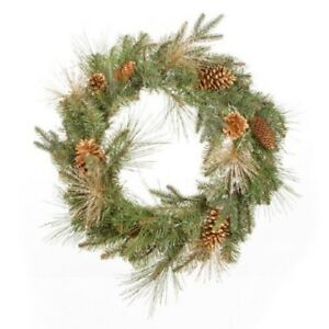 """Darice 24"""" Gold Glittered Mixed Pine Artificial Christmas Wreath"""