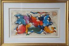 "David Schluss Framed Serigraph  ""Happy Dancing"""