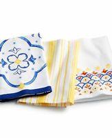 Martha Stewart Collection La Dolce Vita Set Of 3 Cotton Kitchen Tea Towels New