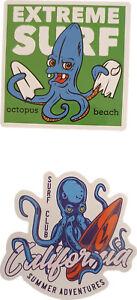 2 Surf 🏄 🐙 🐙 Aufkleber Sticker Oktopus