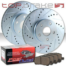 FRONT Drill Slot Brake Rotors + POSI QUIET SM Pads Evolution EVO X TBP19301