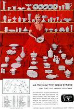 Fostoria Milk Glass JEWEL BOX Sleigh WEDDING BOWL Spoon Holder 1955 MAGAZINE AD