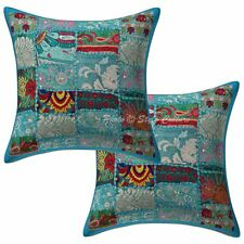 "Cotton Vintage Patchwork Pillow Case Covers 16"" Indian 2 Pc Floral Cushion Cover"