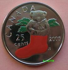 🎁 2005 P 25 cents STOCKING TEDDY BEAR colorized - Brilliant Unc