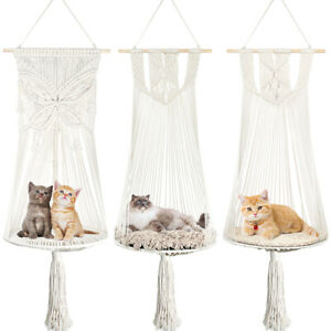 Bohemian Handwoven Pet Cat Nest Hammock Swing Bed Wall Hanging Basket With Mat