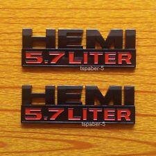 2pcs Black Ram Hemi 5.7 Liter Logo Decal Emblem Nameplate Badge
