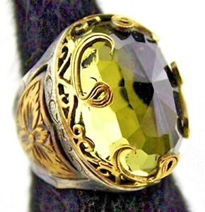 Sterling silver unisex ring handmade, Citrine created stone, Ottoman Empire ring