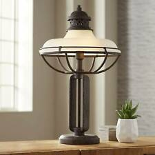Industrial Table Lamp Open Cage Rust Bronze Dome Glass for Living Room Bedroom