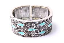 Old-School Metallic Elastic Bracelet w Great Turquoise Details Around (T552)