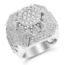 Heavy Wide 14K White Gold 2.8C Pave Round Diamond Mens Right Hand Ring