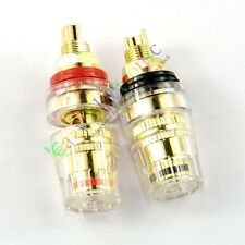 4pcs Gold Plated Copper Speaker cable amp Binding post Terminal Plug tube audio