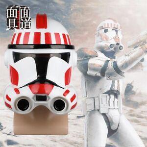 Star Wars CLONE TROOP Cosplay Helmet Prop Halloween Helmet Mask White/Red