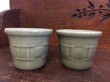 Longaberger Votive lot of 2 green basketweave pottery candle