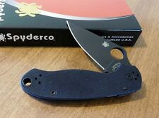 SPYDERCO New Black G-10 Handle Para Military 3 Blk Plain S30V Blade Knife/Knives