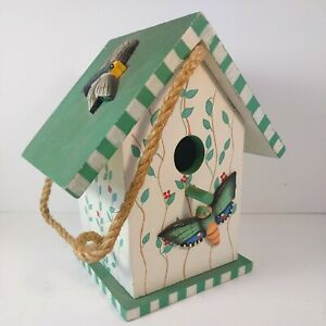 Wooden Birdhouse Painted Green and White Leaves Flowers 3D Butterflies PreOwned