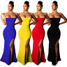 Sexy Women Off Shoulder High Slit Bodycon Fishtail Cocktail Party Evening Dress