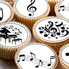 24 Edible cupcake fairy cake toppers decorations ND1 Musical Notes music
