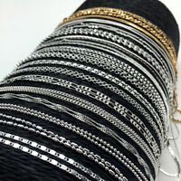 "Wholesale 925 Silver Figaro Snake Rolo Flat Curb Chain Necklace 16""-30"" Jewelry"