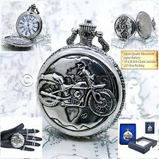 CITY WATCH Silver Motorcycle Pocket Watch Large Men Size 47 MM + Fob Chain 218
