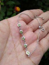 "Natural Green PERIDOT Birthstone Sterling 925 Silver BRACELET 7.0"""