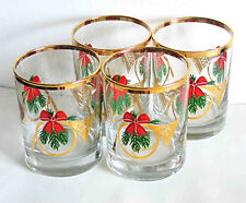 "Set of 4 Vintage Christmas Horn Holiday Rocks Glasses Heavy Base 4.25"" FREE SH"