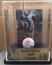 GOLF LEGEND SAM SNEAD SIGNED GOLF BALL IN DISPLAY CASE