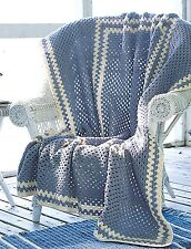 "ONE BIG GRANNY SQUARE BLANKET/THROW/AFGHAN 50"" x 65"" EASY CROCHET PATTERN"