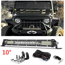 10inch LED Work Light Bar Single Row Offroad ATV 4WD SUV Wiring Harness Remote