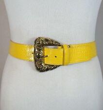Vintage 80's Retro Loud Bright Yellow Faux Snakeskin Print Fashion Belt Size 28