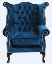 Chesterfield Queen Anne Wing High Back Armchair Pastiche Petrol Blue Velvet  SS