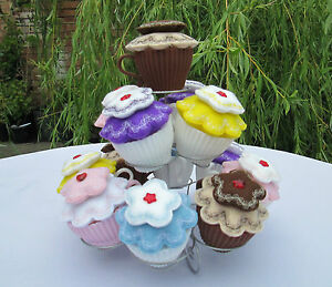 Embroidered Cupcake In A Cup - Hand Crafted Pin Cushion