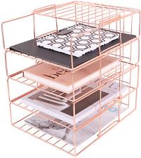 Hosaken Paper Tray 4 Tier Stackable File Tray Decorative Desk File Organizer R