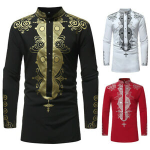 Men's Long Sleeve Luxury African Print Dashiki Shirt Tops Blouse Casual Slim Tee