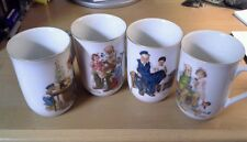 Set of Four Norman Rockwell Museum Porcelain Cups/Mugs