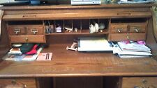"Roll Top Antique Quarter Sawn Oak 50"" High ""S"" Raised Panel Roll Top Desk"